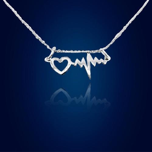 Dije Y Cadena Electrocardiograma Corazón Plata 925 Con Envio