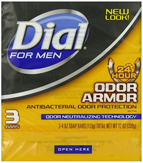 Dial For Men Odor Armor Antibacterial Soap, 3 Count, 4 Oz Ba