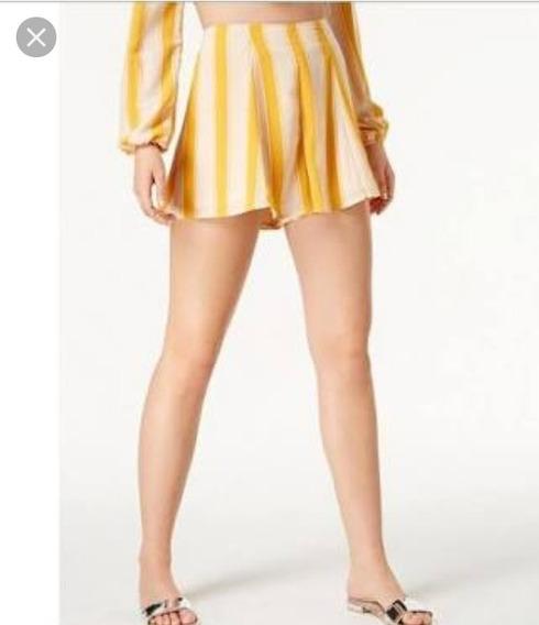 Short De Dama Juvenil Talla M Amarillo Casual Verano Macy