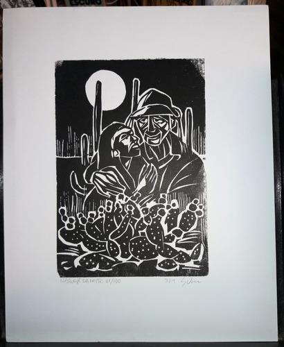 Imagem 1 de 1 de Xilogravura Assinada - Gilvan Lopes - Nascer Da Noite