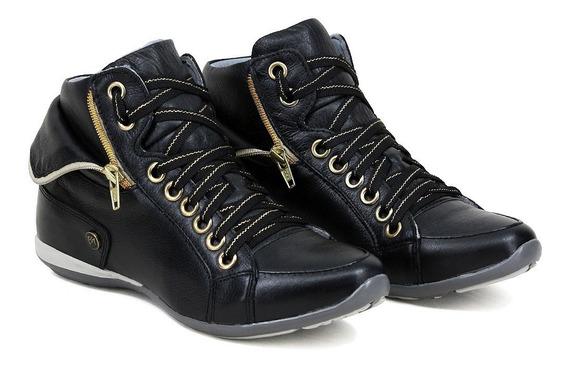 Sneakers 100% Couro Preto Marrom Super Confortáveis Oferta