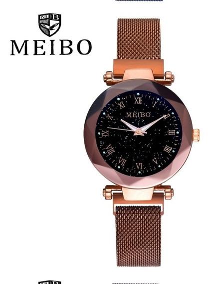 Relógio Feminino Quartzo Céu Estrelado Marrom Gold Luxo