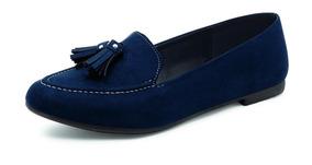 Zapato Casual De Dama Color Azul Marino Textura De Ante