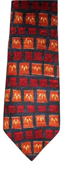 Corbata Geoffrey Beene Azul Con Naranja Tipo Rústica