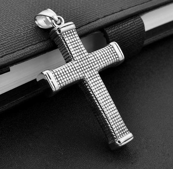 Colar Crucifixo Masculino Martelado Prata 12180