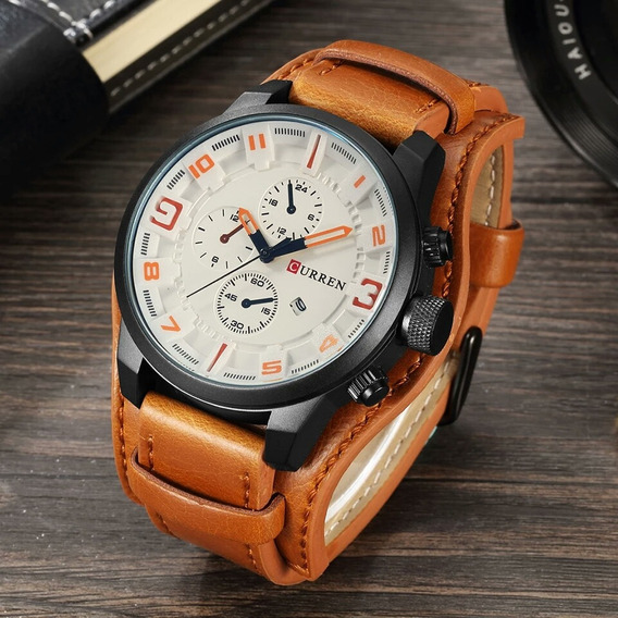 Relógio Bracelete De Couro Curren 8225 Preto Esporte Fino