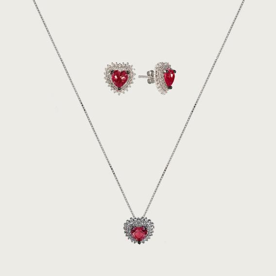 Conjunto Coração De Prata Com Zircônia Vermelha E Branca