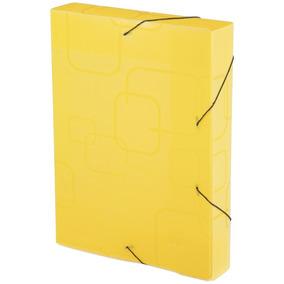 Pasta Aba Escolar Elastico Oficio 4 Cm Amarelo