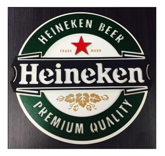 Placa Decorativa Quadro Entalhado Em Madeira Heineken
