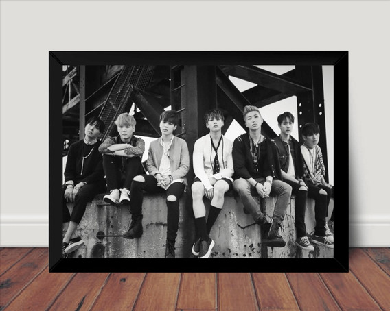 Quadro Poster Com Moldura Bts Kpop Fotografico Boy Band