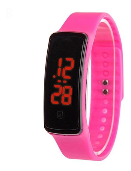 Relógio Digital Led Vermelho Bracelete Fivela - 2 Und - Rosa