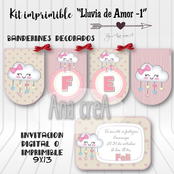 Kit Editable Lluvia De Amor Mod.1- Imprimible - Rosa