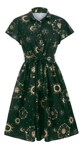Sol Estrellas Luna Impreso Vestido Casual Para Mujeres S-3xl