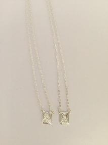 Escapulario Prata Sagrado Coracao Pequeno R2570