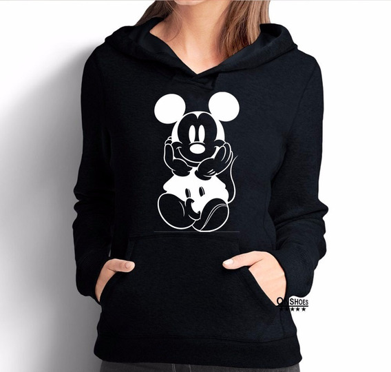 Moletom Mickey Feminino Mod 5 Rb Blusa De Frio Canguru