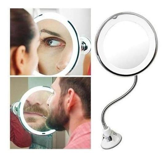 Espelho Led 360 ¿flexível 5xaumento Ventosa Maquiagem Barba