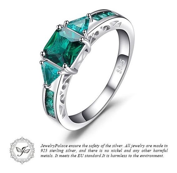 Anel De Prata Esterlina 925 Com Esmeralda Jewelrypalace Marc