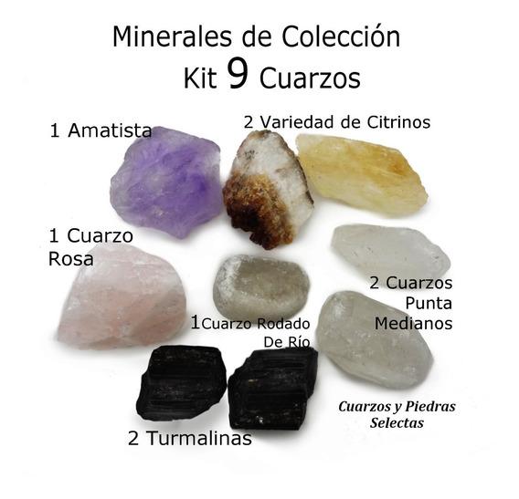 Kit 9 Cuarzos / Minerales Amatista Cuarzo Punta Turmalina
