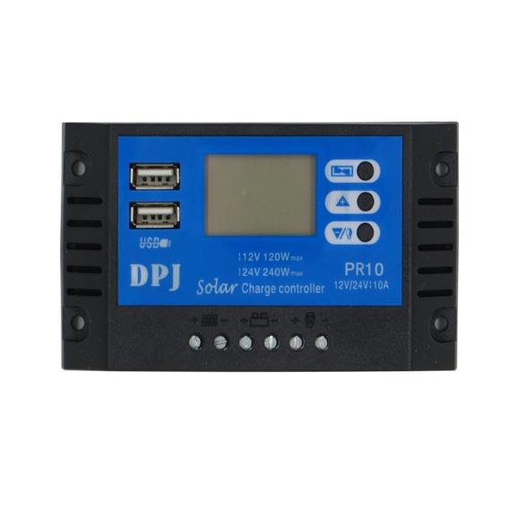 Controlador De Carga Solar 10a Lcd Usb Automatico Pwm