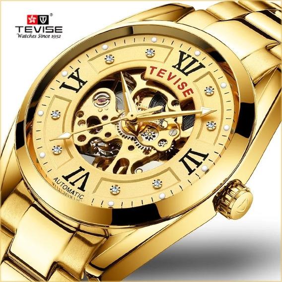 Relógio Tevise Automático Mecânico Inox T795 Dourado