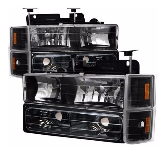 Chevrolet Silverado 1994 1998 Set Faros Negro 1995 1996 1997