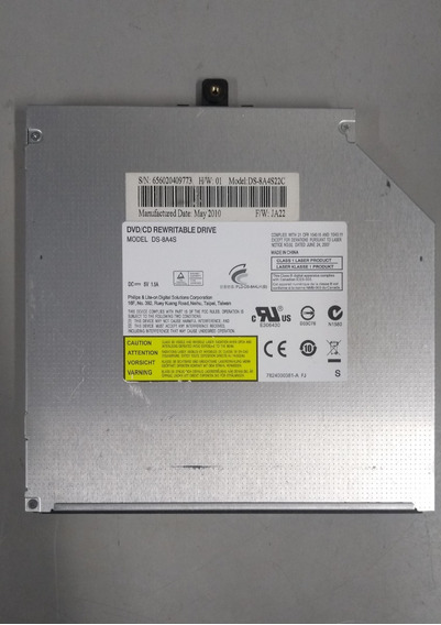 Drive De Cd/dvd Hp Para Notebook Ds-8a4s22c S/tampa Frontal