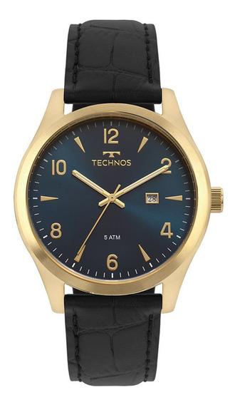 Relógio Technos Masculino Pulseira De Couro Steel Dourado Elegante E Moderno - Ref. - 2115mrx/2a