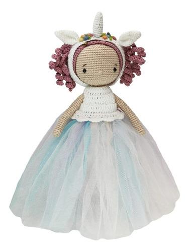 Imagen 1 de 3 de Amigurumi Princesa Unicornio Hecha A Mano En Crochet