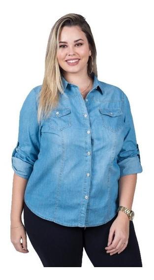 Camisa Jeans Feminina Plus Size (g1- 4) Primavera Importado