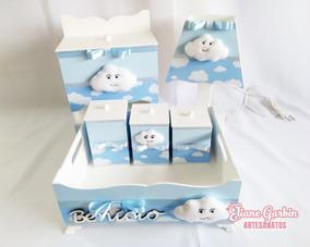Kit Higiene Mdf 6 Peças Nuvem Em Feltro 2 Tecidos