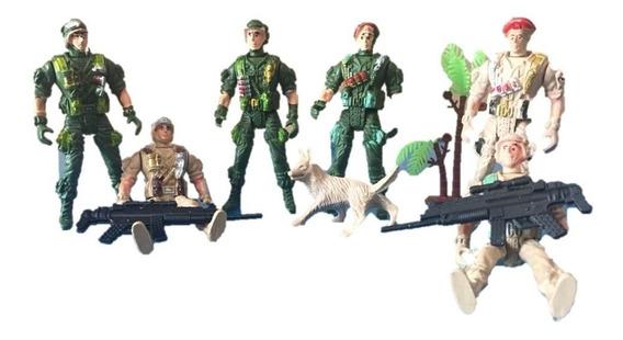 Set Soldados 9 Piezas Juguete Niño Armas Militar Plastico