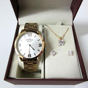 Relógio Champion Feminino Cn29892z Kit 3 Peças