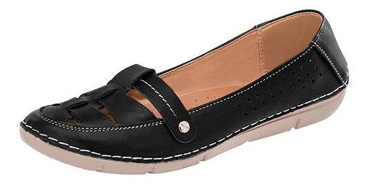 Zapato Piso Dama Zoe Negro Piel Correatipot D37619 Udt