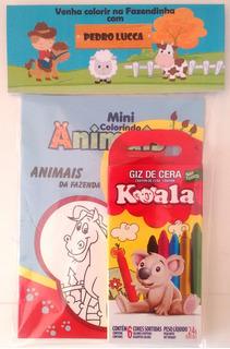 15 Livros De Colorir + Giz C/ Embalagem E Personalizado Tema