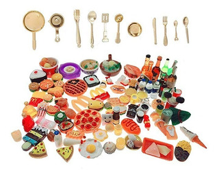 Six Vanka Juego Vajilla En Miniatura Resina Alimentos