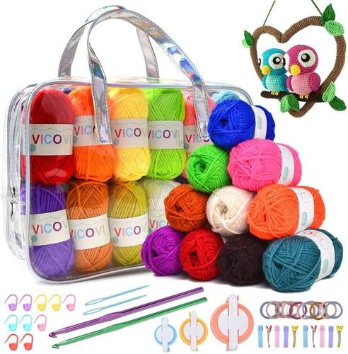 Kit Crochet Bordado 24 Madejas Hilo Acrílico Ganchos