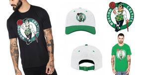 Kit : 1 Boné + 2 Camisas/ Boston Celtics - Originais Da Nba