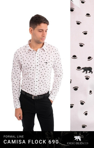 Camisa Hombre Slim Fit Campana Timbre Hotel Orso Bianco Xl