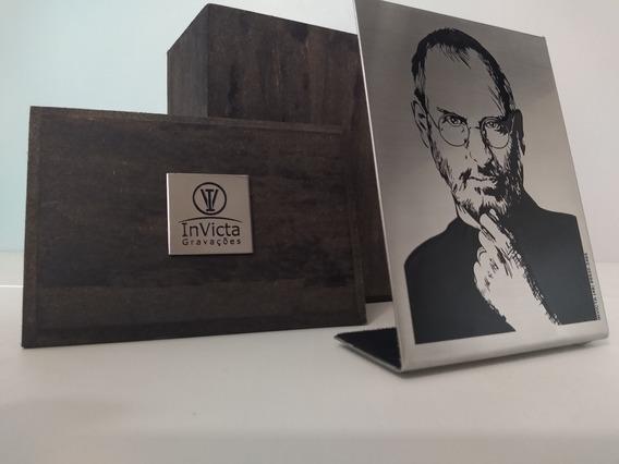 Placa De Mesa Steve Jobs Em Aço Inox Gravada Em Baixo Relevo