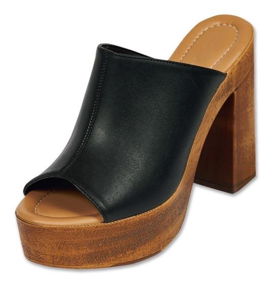 Sandalia Dama Mujer Plataforma Piel Negro Casual