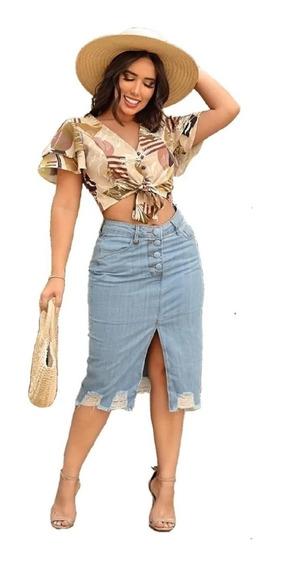 Saia Jeans Casual Com Botões Encapado - Tendencia Da Moda