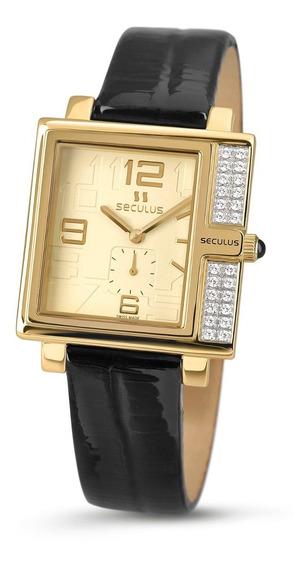 Relógio Feminino Quadrado Dourado Suiço Com Pedras Cravejada