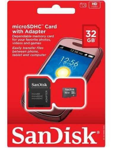 Cartão De Memória No Formato Micro Sd Sdhc Da Sandisk Tem Capacidade De Armazenamento De 32gb Com Adaptador Sd