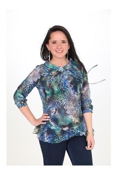 Blusas Dama Chifon Estampado Multifiguras Linda Ropa Mujer