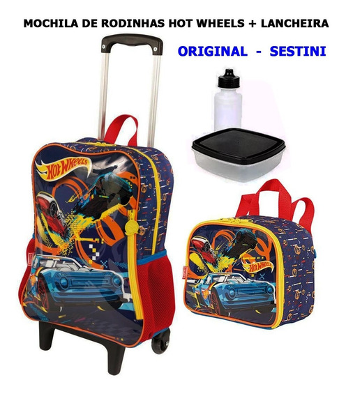 Mochila Escolar Hot Wheels + Lancheira Sestini