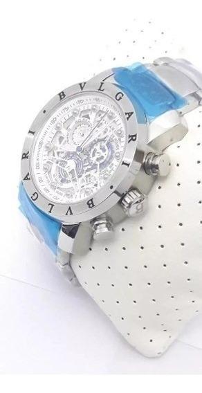 Relógio Ty023x Bvlgari Prateado + Azul - Frete Grátis, 12x