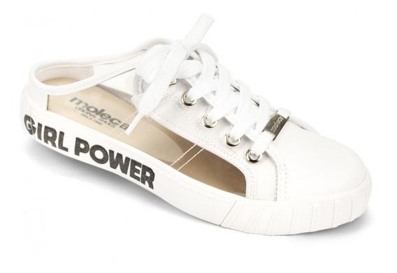 Mule Feminino Moleca Girl Power Branco Transparente Barato