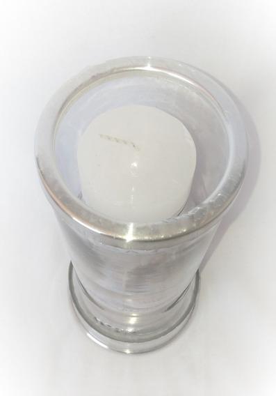 2 Porta Vela De Vidro Transparente Base Alumínio Castiçal