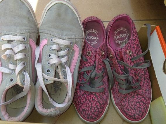 2 Pares De Zapatillas Niñas Kickers Y Vans
