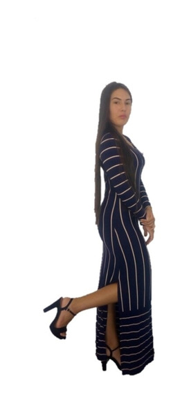 Vestido Longo Com Fendas Lateral Moda Blogueira Listrado